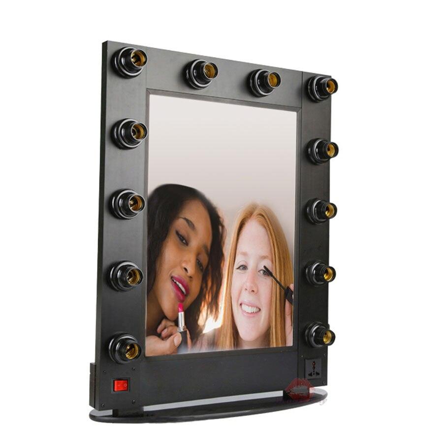 Avec Coiffeuse Miroir Étui Hollywood Cadre De Silver Aluminium Maquillage white Cosmétique Miroir Salon En Lumières Des nq1fR1X