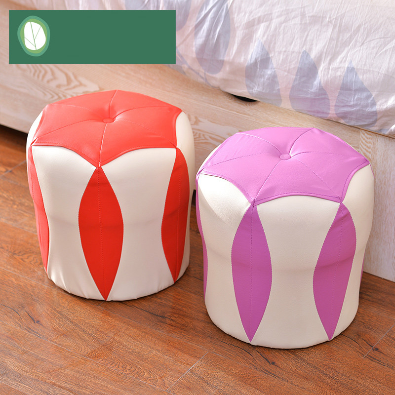 High quality modern fashion small stool fashion creative household thickening shoes dressing wood bench sofa leather stool wooden small stool solid wood sofa stool fabric small bench mushroom stool low fashion creative shoes for shoe stool 28 28 21cm