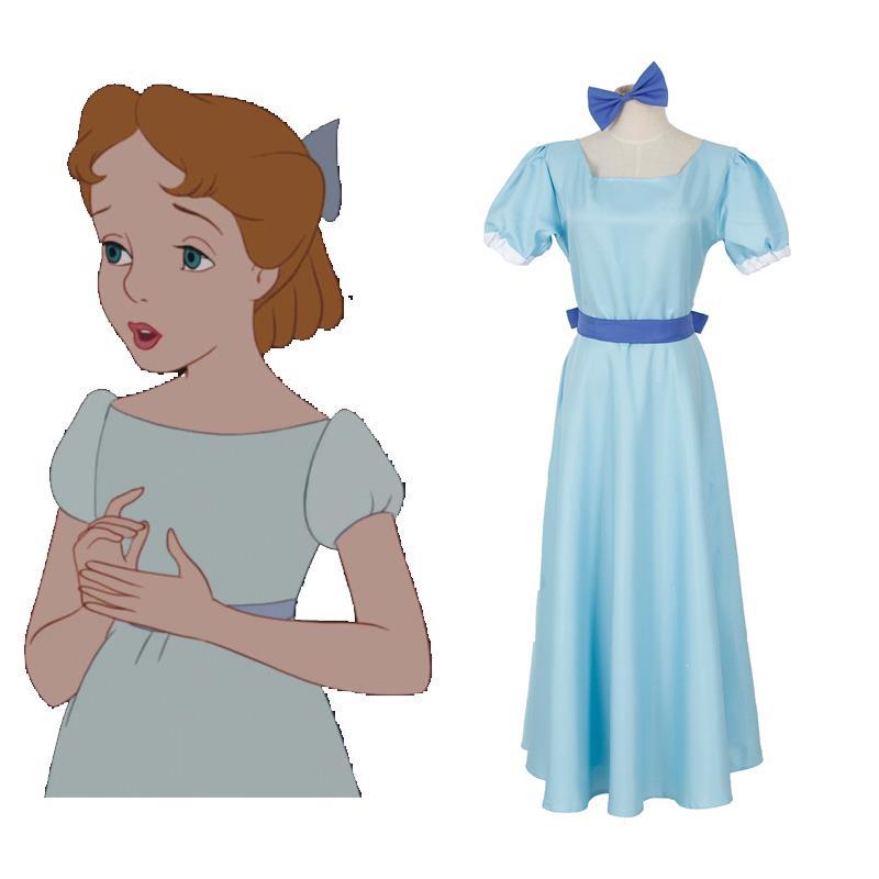 Wendy Darling Dress Peter Pan Cosplay Costumes Girl Blue Dress Women Long Costume Halloween Party Rachel Cosplay