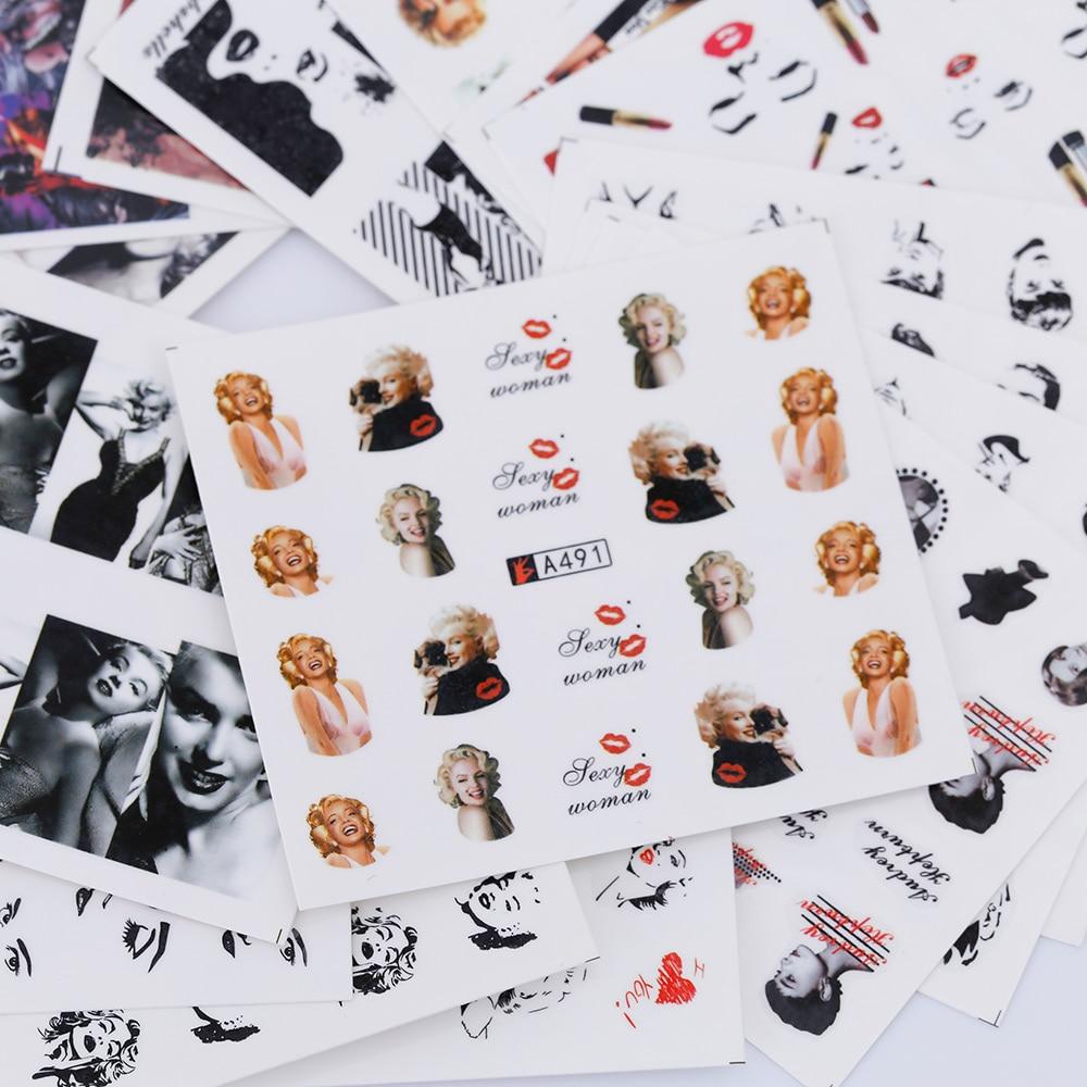 TOMTOSH 36 Styles Nail Sticker Marilyn Monroe Nail Art Water Decals ...