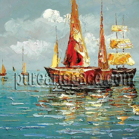 Boats in the sea handmade oil painting palette knife oil painting on canvas dropshipping and wholesale is welcomed
