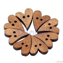 100 шт лазерная резка дерево прекрасная коричневая деревянная швейная кнопка в форме сердца Ремесло Скрапбукинг Ремесло Свадебный декор 16x13,5x3 мм