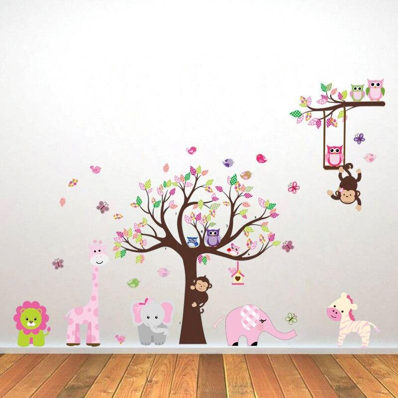 2016 nouvelle vente chaude hiboux singe arbre animaux Stickers muraux girafe éléphant Lion Art décalcomanie pépinière énorme feuille