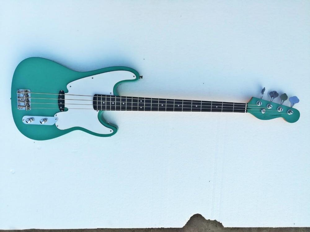 Usine en gros GYPB-6009 Drak vert couleur blanc plaque touche palissandre 4 cordes Precision Bass Guitare, Livraison gratuite
