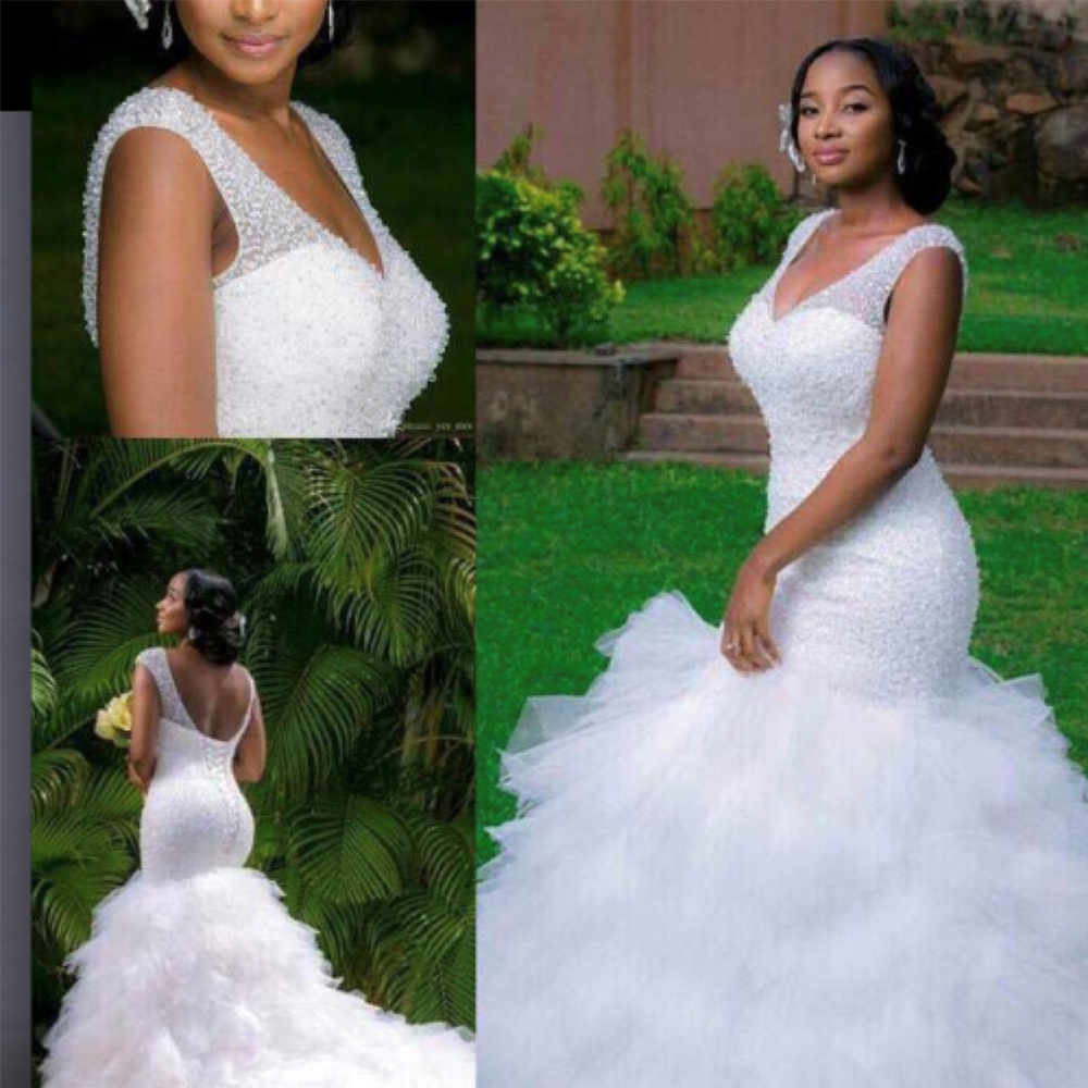 Fansmile 2020 New Arrival Africa Design Full Beading Handwork Beads Ruffle Tiered Mermaid Wedding Dress Backless Gowns FSM-498M