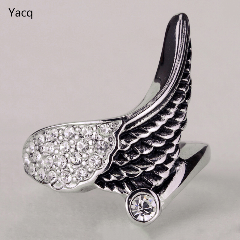 YACQ Stainless Steel Angel Wing Ring Women Biker Bling Jewelry Antique Gold Silver Color W Crystal KR04 Wholesale Dropshipping