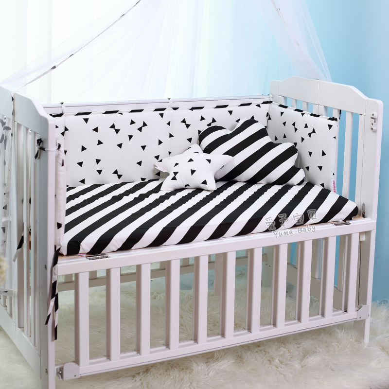 ФОТО 1pc Crib Bumpers Cotton Baby Bed Bumper Liner Baby Cot Sets Bed Around Protector black white Triangle dots  trees 200*28cm
