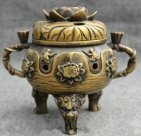 7 inch/Folk Chinese Bronze Lion Head Jump Frog Statue Tibet Lotus Incense Burner