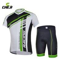 CHEJI Takım Hız Atletizm Yeşil yaz erkek Bisiklet Forması/Bisiklet giyim Bisiklet Giyim gömlek + (ÖNLÜK) şort Set