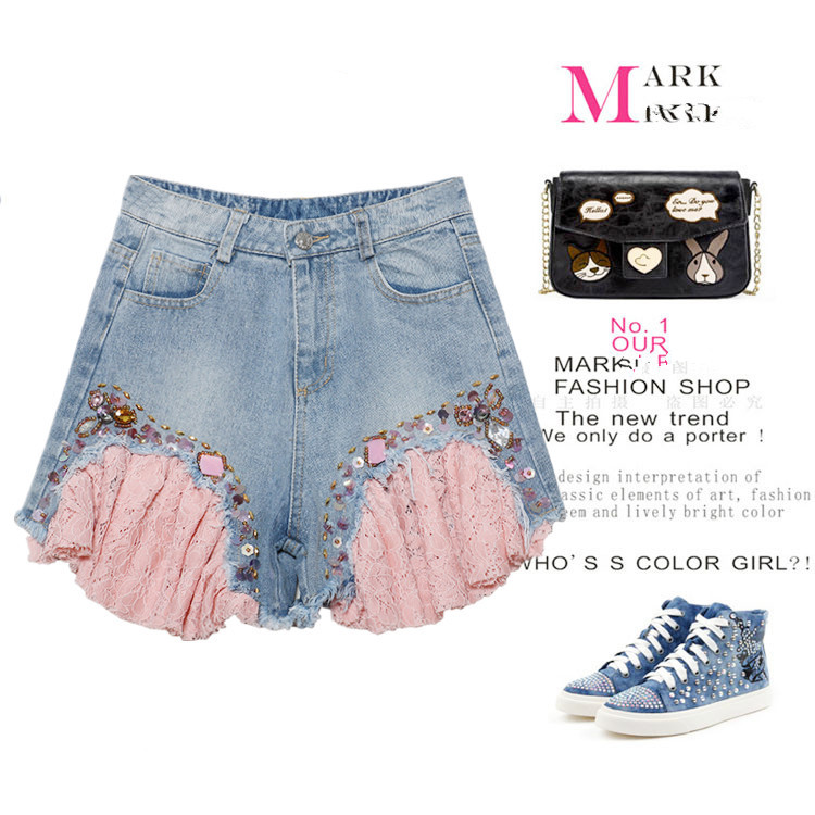 4 Colors Denim Hot Shorts Women Sexy Summer Casual Sequins Lace Woman's Ripped Short Jeans Feminino Ladies Pants  NZ89 2016 summer style fashion women s short pants lace ladies jeans denim shorts