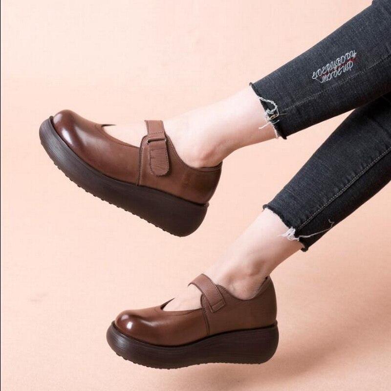 GKTINOO ทำด้วยมือผู้หญิงแพลตฟอร์มรองเท้าสำหรับสตรีรองเท้าหนังผู้หญิง Vintage Soft Comfort Wedges Breathable ปั๊ม-ใน รองเท้าส้นสูงสตรี จาก รองเท้า บน   3