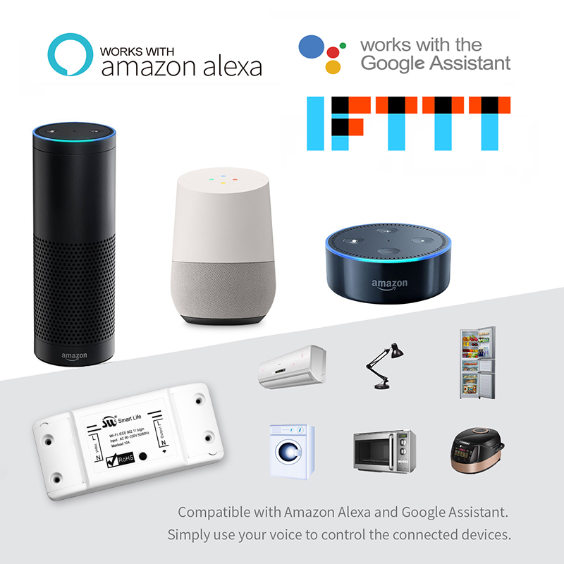 Image 2 - DIY Wi Fi Smart Light Switch Universal Breaker Timer Smart Life APP Wireless Remote Control Works with Alexa Google Home IFTTT-in Switches from Lights & Lighting