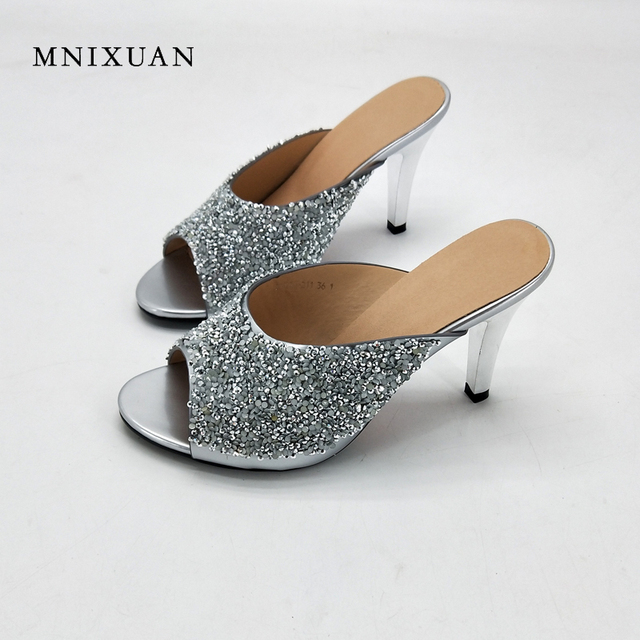 5c2c4f42c1e MNIXUAN Nightclub sexy shoes high heels 8cm 2018 summer new peep toe women  slippers sandals sequin solid slides big size41 42 43-in Slippers from ...