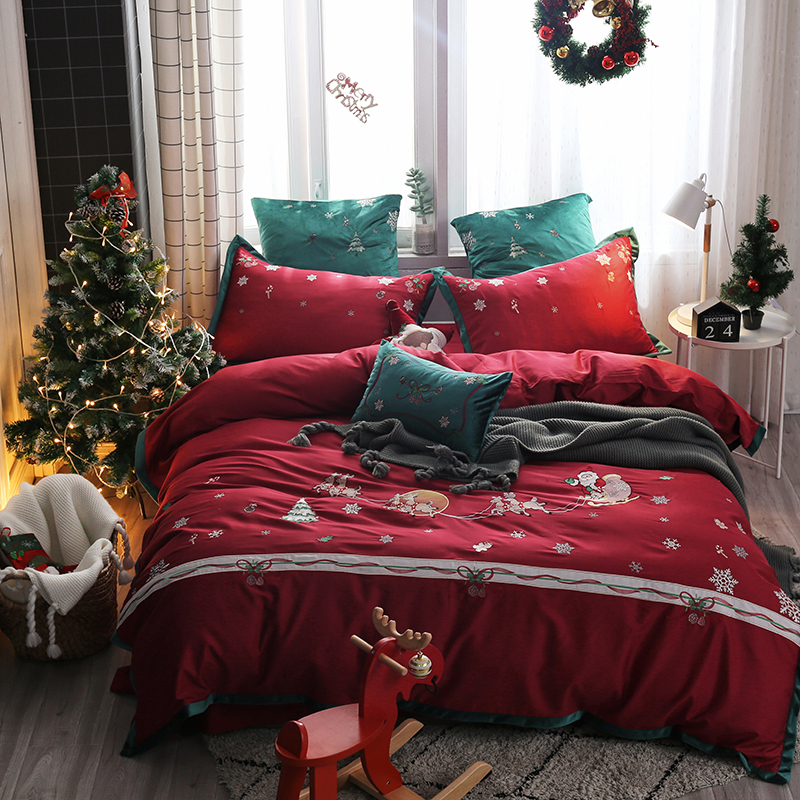 4/7Pcs Luxury Red Christmas Gift Queen size King Bedding Set Egyptian Cotton Bed Sheet Fitted sheet Duvet Cover parure de lit4/7Pcs Luxury Red Christmas Gift Queen size King Bedding Set Egyptian Cotton Bed Sheet Fitted sheet Duvet Cover parure de lit