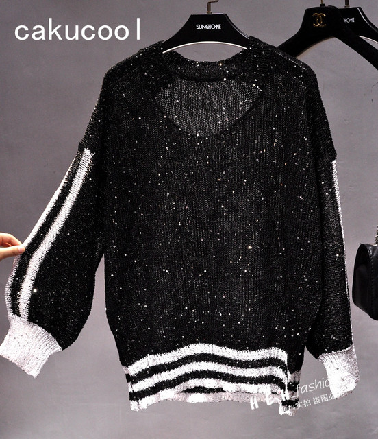 Cakucool New Women Thin Sequined Sweater Knit Pullover Bead Long Lantern Sleeve V-neck Casual Loose Striped Tops Pullovers Lady