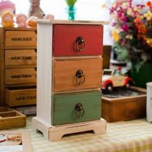Storage box Zakka Do the old wooden box three layer with ring storage drawer Craft gift