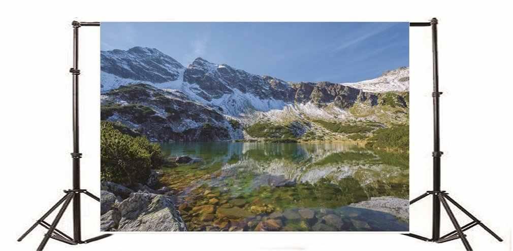 التصوير خلفية الجليد الجبلية نهر الأخضر النباتات روك الأحجار الأزرق السماء سحابة بيضاء طبيعة المشهد الشتاء السفر