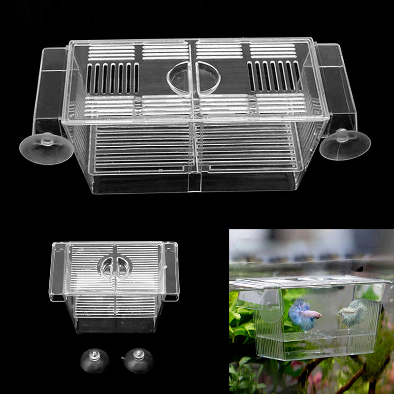 Aquarium Fish Tank Double Breed Incubator Breeder Rearing Trap Box Hatchery S/L ...