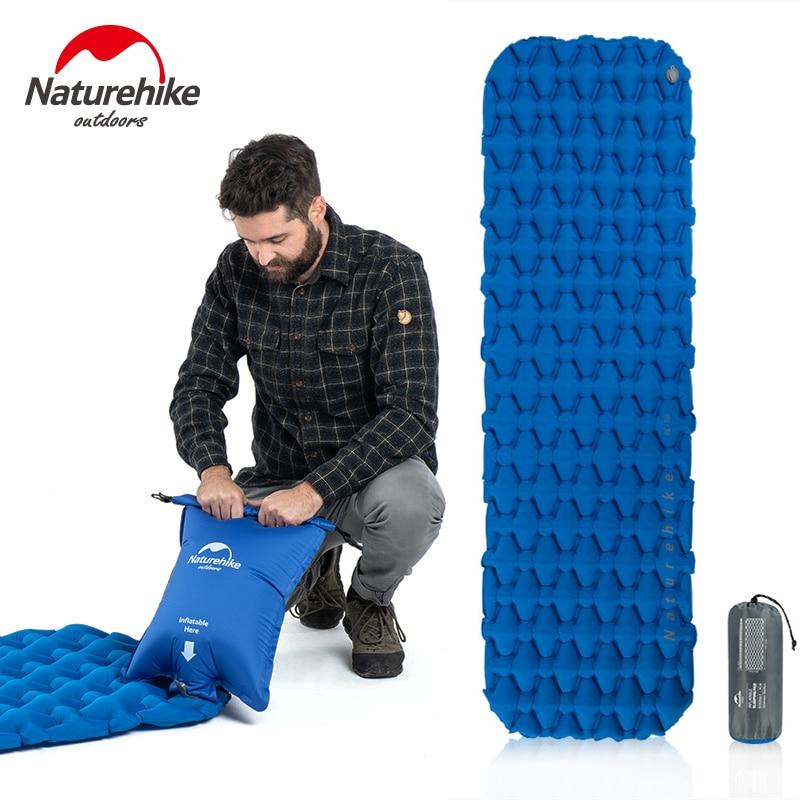 Naturehike ultraleve dobrável à prova dsingle água portátil único colchão de ar acampamento inflável dormir esteira mochila almofada