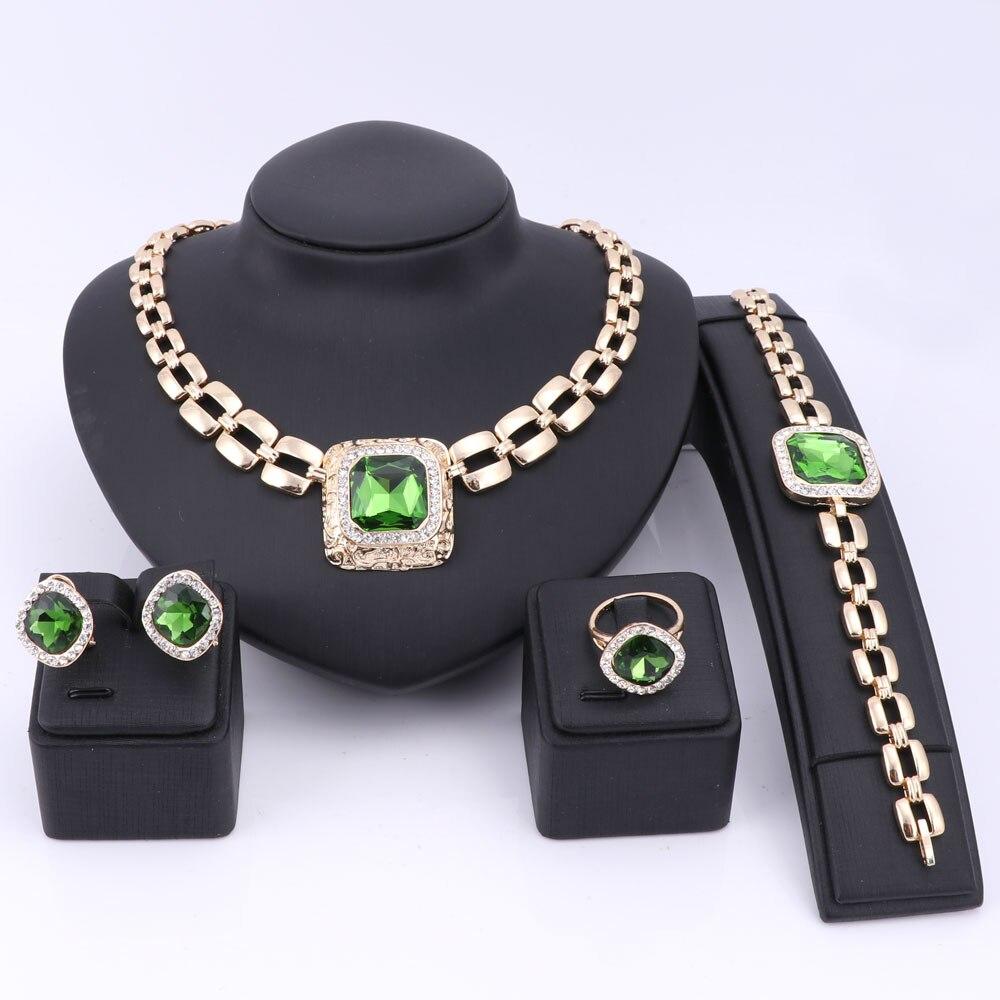 370f53a755d14 Ouhe جوهرة بيان قلادة الكريستال قلادة الأقراط الاكسسوارات الخرز الأفريقي  طقم مجوهرات للنساء الزفاف مجموعة