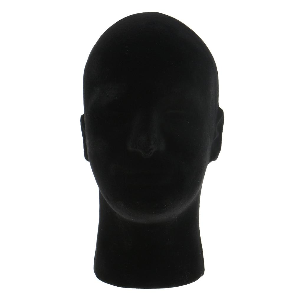 11 Male Styrofoam Foam Flocking Mannequin Head Wigs Hair Toupee Display Stand Model VR Headsets Glasses Mount Holder - Black