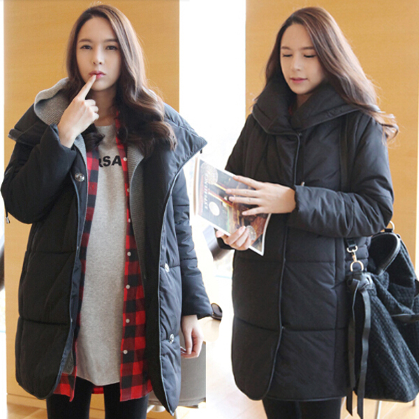 New Style Big Size Winter  Pregnant Women Thicken Cotton Coat  With Turn Down Collar  Comfortable maternity Coats women winter coat leisure big yards hooded fur collar jacket thick warm cotton parkas new style female students overcoat ok238