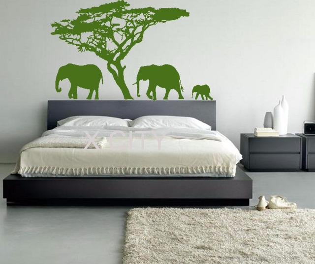 African Elephant Wall Art Stickers Scene Vinyl Decal Stencils Room Giant Mural Animals Quote Decorative S M L