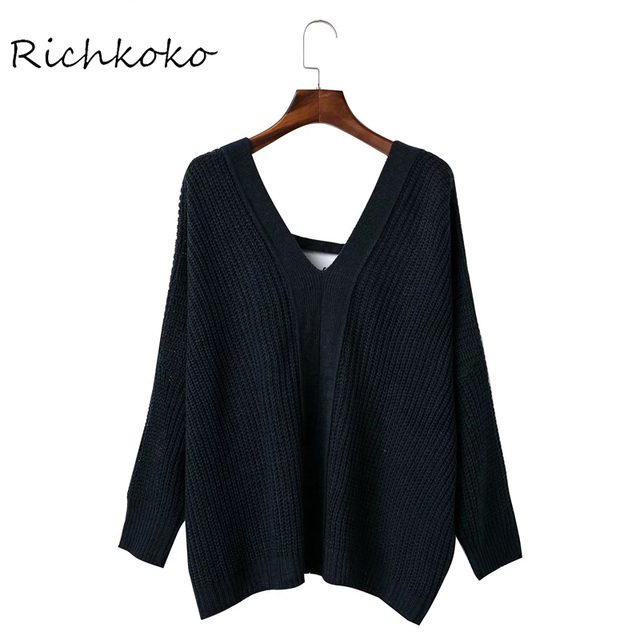 Richkoko Navy Lace Up Back Oversize Bat Knitted Top Sexy V-neck Backless Loose  Sweater Long Sleeve Crossback Casual Sweater 234c27cf6