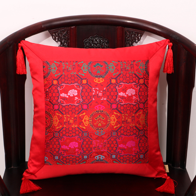 Кисточка пэчворк натуральные шелковые наволочки с рисунком шелковицы рождественские Чехлы Подушка, домашний декор диван стул китайский наволочка - Цвет: Красный