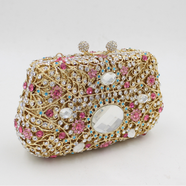 Gold Crystal Evening Bag flower crystal purses Ladies Purse Party Bag Day Clutches Wedding Clutch Bag Diamond Banquet bag gold