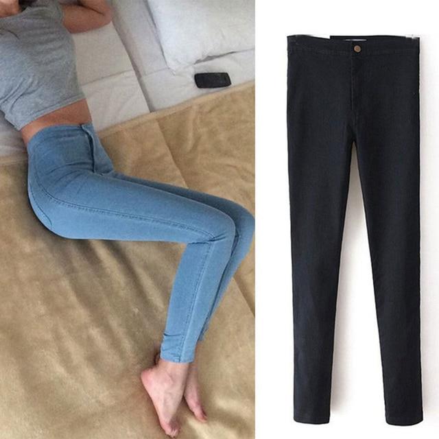 2016 Мода высокой талии Женские джинсы Stretch Тощий джинсы женские высокого качества тонкий карандаш брюки черные брюки женские Denim C0455