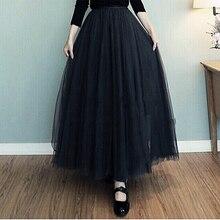 21d878be55 2017 long skirts for women autumn pleated skirt A word net Big Swing Maxi  Skirts Womens