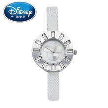 Disney Kids Watch Fashion Cute Mickey Mouse Quartz Wristwatches women watch With Diamond for Children Leather clock casual