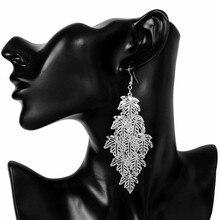 SHUANGR Vintage Bohemia Ethnic Long Earrings Gold color Maple Leaf pendant shape dangle earrings For Women wholesale 2 Colors
