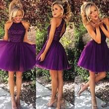Короткие фиолетовые фатиновые платья для выпускного вечера на
