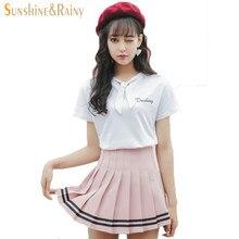8e5802852 2017 summer new girls skirts pleated schoolgirls skirt uniforms cos  macarons waist solid pleated skirt stripe