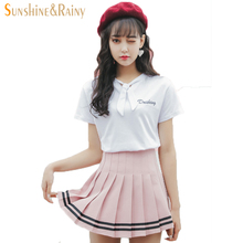 купить  2017 summer new  girls skirts pleated schoolgirls skirt uniforms cos macarons waist solid pleated skirt stripe skirt  female в интернет-магазине