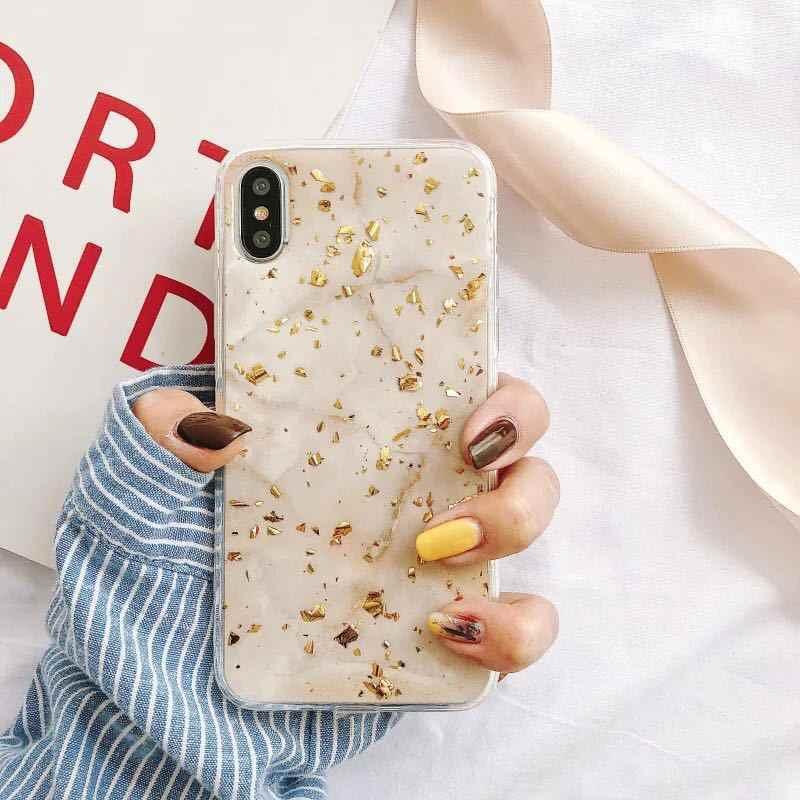Caso de telefone de luxo da folha de ouro para o iphone x xs max xr mármore macio tpu capa para o iphone 7 8 6s plus glitter caso mármore bonito funda