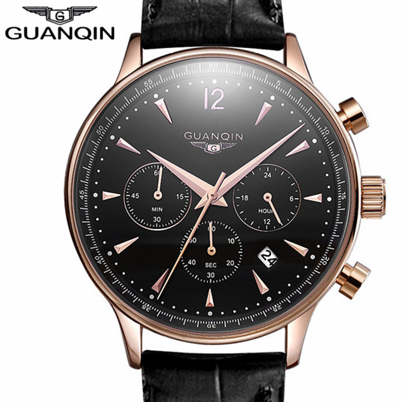Mens Watches Top Brand Luxury GUANQIN Leather Strap Quartz Watch Men Military Sport Chronograph Wristwatch relogio masculino