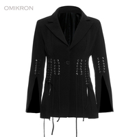 OMIKRON New Fashion Autumn Vintage Tassel Blazers Women Long Sleeve Single Breasted Slim Black Blazer Office Casual Coat