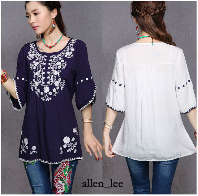 2017 Summer Vintage 70s Women Ethnic Floral Embroidered Boho Gypsy Loose Blouse Chic Tops Shirts Blusas