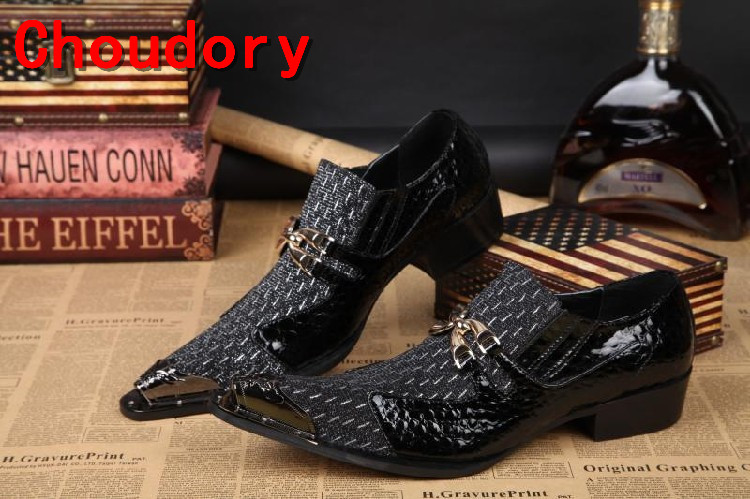 Choudory Black Metal Bowtie Men Shoes Leather Patchwork Men Dress Shoes Formal Oxford Shoes  Men Wedding Shoes Rivets Oxfords