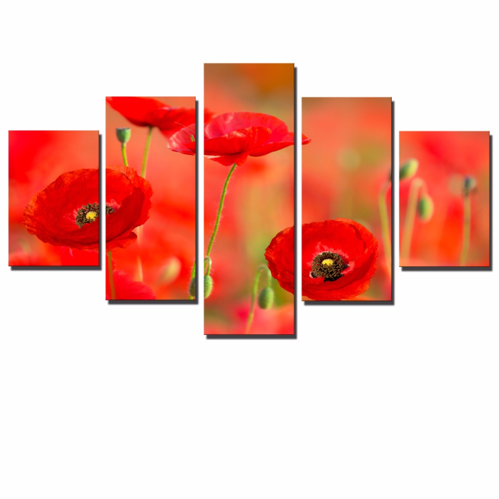 5 Panels Poppy Flowers Canvas Paintings For Living Room Wall Red Flowers Modern Modular Pictures Wall Art Posters For Home Decor