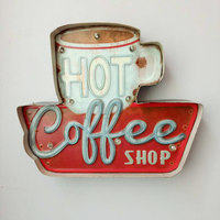 Hot Coffee LED Signs Vintage Cafe Shop Decorative Neon Light Home Decor Metal Plate For Wall retro Coffee Plaque 35.5X5X29.5CM