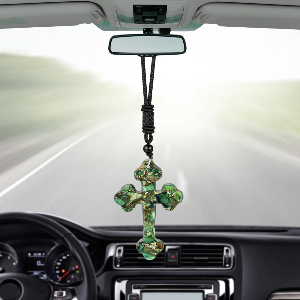 car pendant stone cross crucifix hanging ornaments christian automobiles interior. Black Bedroom Furniture Sets. Home Design Ideas
