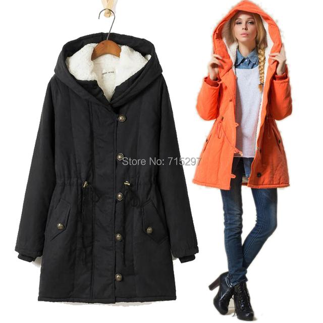 2015 mulheres de inverno Amassado jaqueta Cordeiros lã de médio-longo plus size 4X preto senhora engrossar ferramental casaco amassado casuais parkas X1247