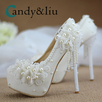 White Lace Flower Wedding Shoes Super High Heel Pearl Beaded Tassle Women Pumps with Plat Form for Party Banquet Bridesmaid