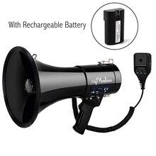 Портативный громкоговоритель 50 Ватт мощность мегафон Bullhorn голос и сирена/режимы будильника с регулятором громкости и ремешком Портативный Динамик