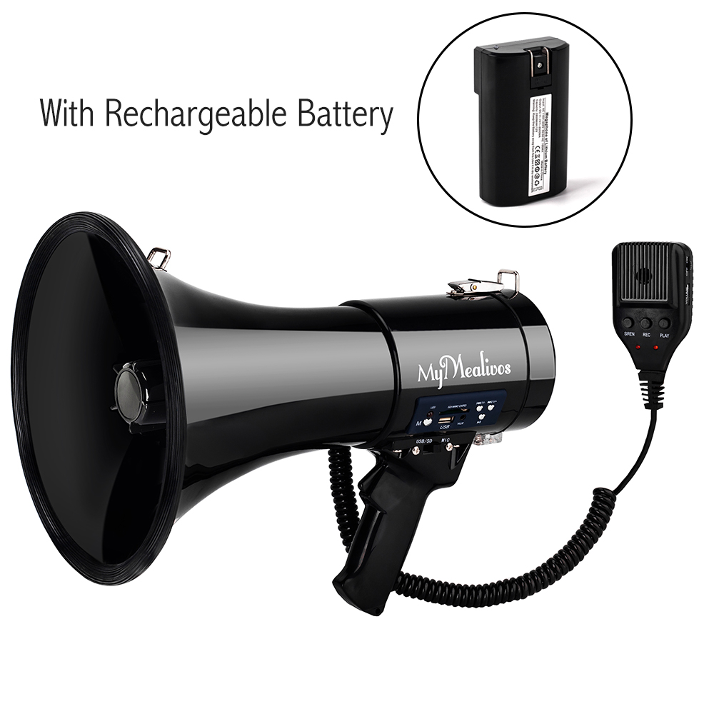 Portable Megaphone 50 Watt Power Megaphone Bullhorn Voice And Siren/Alarm Modes With Volume Control And Strap Portable Speaker