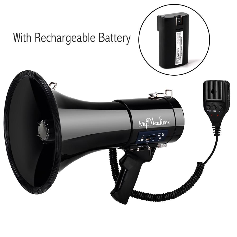Portable Megaphone 50 Watt Power Megaphone Bullhorn Voice And Siren/Alarm Modes With Volume Control And Strap portable speaker